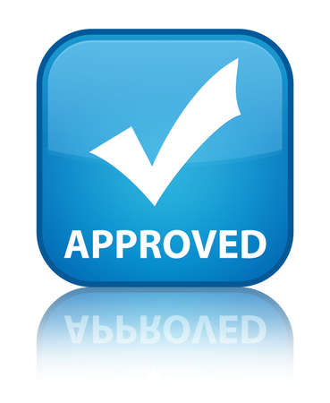 Approved (validate icon) cyan blue square button photo