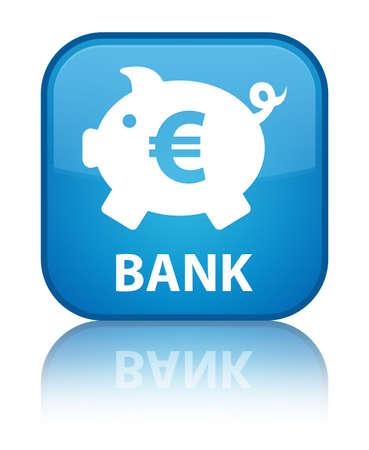 Bank (piggy box euro sign) cyan blue square button photo