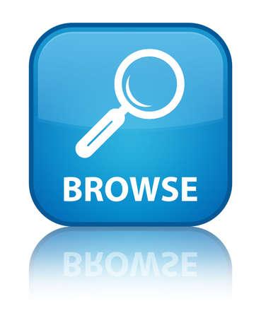 Browse cyan blue square button photo
