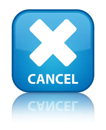 cancel: Cancel cyan blue square button