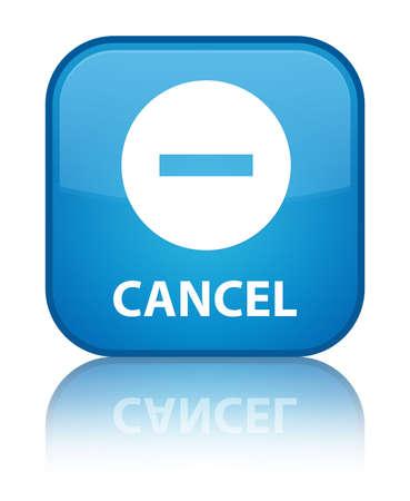 Cancel cyan blue square button photo