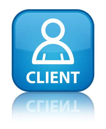 Client (member icon) cyan blue square button photo