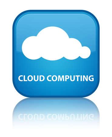 Cloud computing cyan blue square button photo