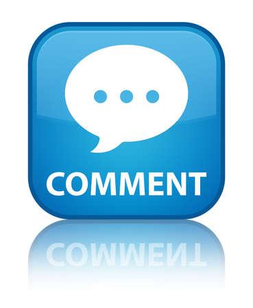 Comment (conversation icon) cyan blue square button photo