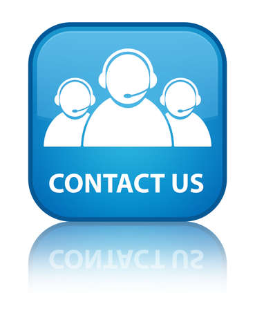 Contact us (customer care team icon) cyan blue square button Stock Photo
