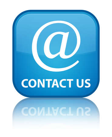 email address: Contact us (email address icon) cyan blue square button
