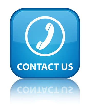 phone us: Contact us (phone icon round border) cyan blue square button