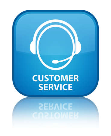 customer care: Customer service (customer care icon) cyan blue square button Stock Photo