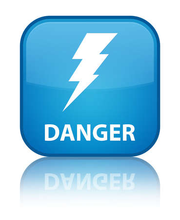 Danger (electricity icon) cyan blue square button photo
