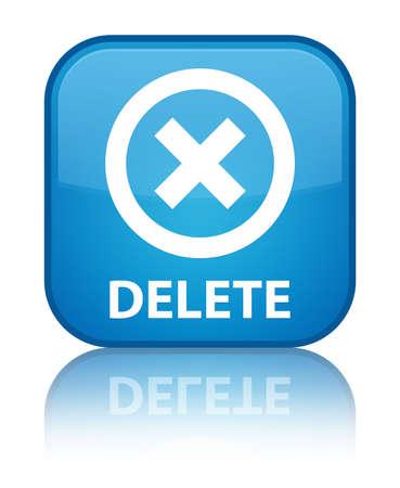 Delete cyan blue square button photo