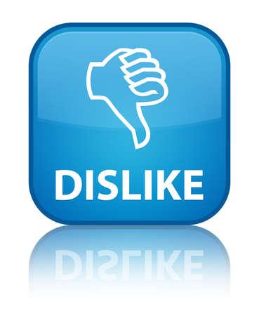 unsatisfied: Dislike cyan blue square button Stock Photo