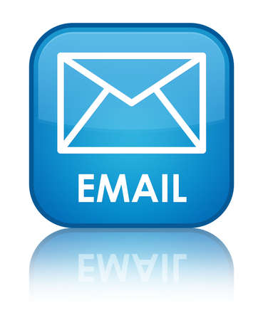 contact us icon: Email cyan blue square button