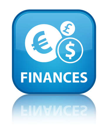 Finances (euro sign) cyan blue square button photo