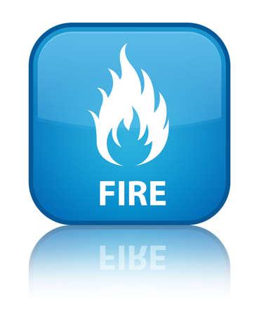 llamas de fuego: Cian Fuego bot�n cuadrado azul