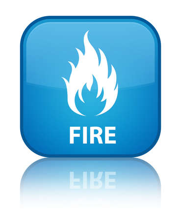 flames icon: Fire cyan blue square button Stock Photo
