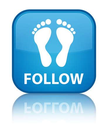 follow: Follow (footprint icon) cyan blue square button