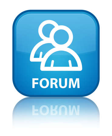 Forum (group icon) cyan blue square button photo