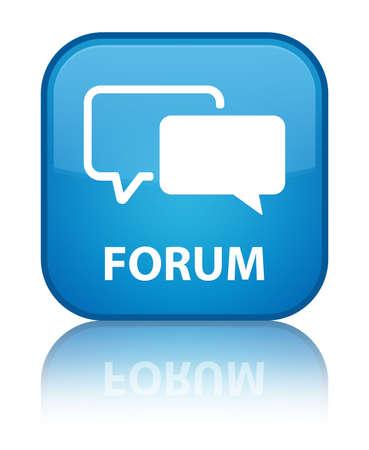 Forum cyan blue square button photo