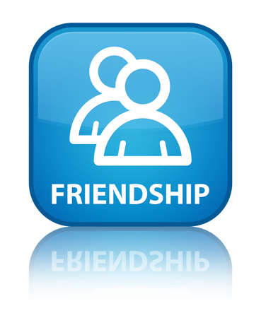 Friendship (group icon) cyan blue square button photo
