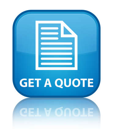 get: Get a quote (page icon) cyan blue square button