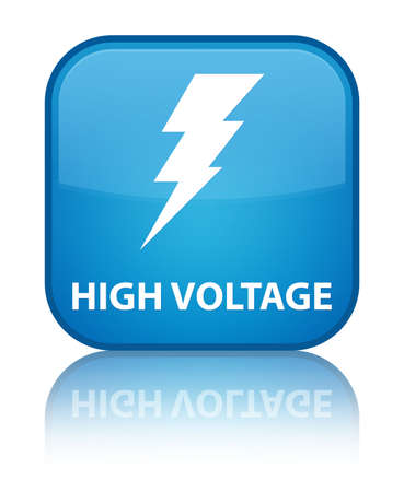 High voltage (electricity icon) cyan blue square button photo