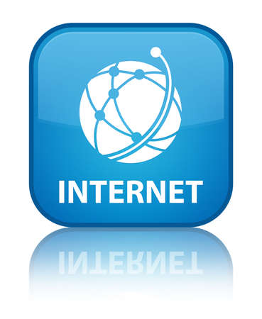 Internet (global network icon) cyan blue square button photo