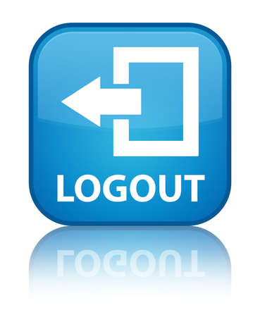 log off: Logout cyan blue square button
