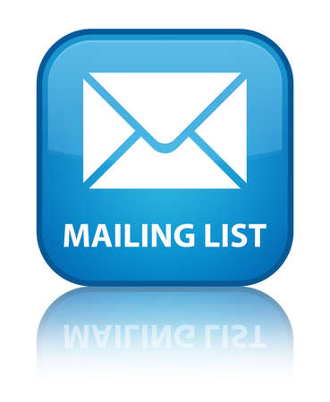 mailing: Mailing list cyan blue square button