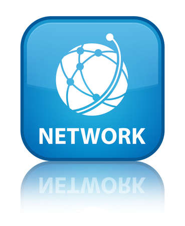 Network (global network icon) cyan blue square button photo