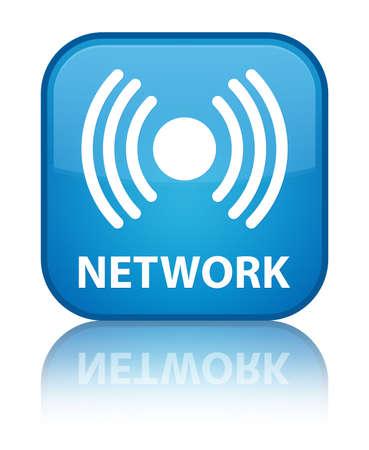 Network (signal icon) cyan blue square button photo