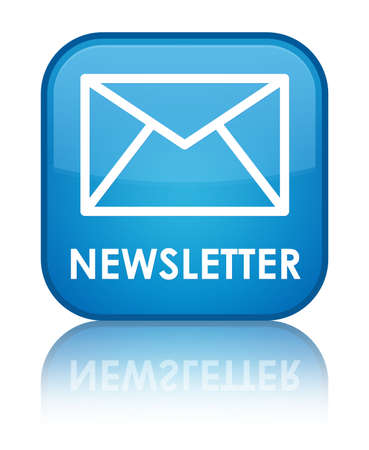 sign: Newsletter cyan blue square button