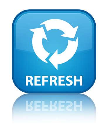 Refresh cyan blue square button photo