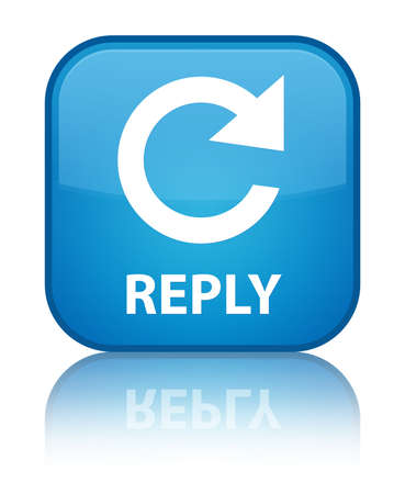 reply: Reply (rotate arrow icon) cyan blue square button Stock Photo