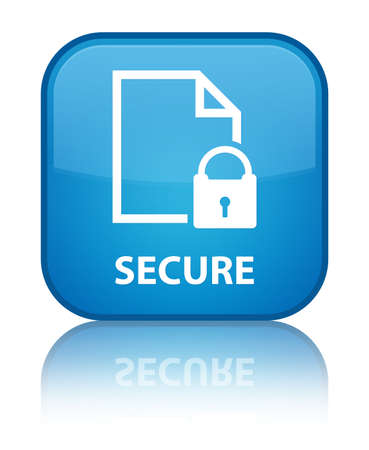 encrypted files icon: Secure (document page padlock icon) cyan blue square button Stock Photo