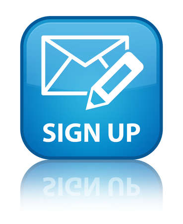 registry: Sign up (edit mail icon) cyan blue square button
