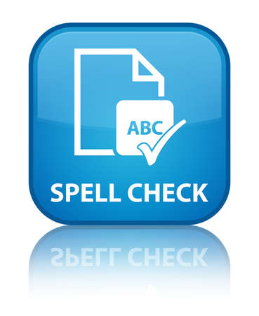Spell check document cyan blue square button photo