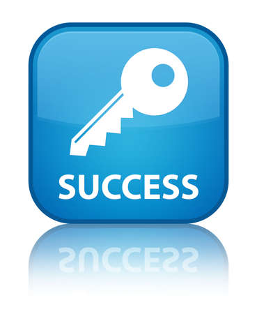 Success (key icon) cyan blue square button photo