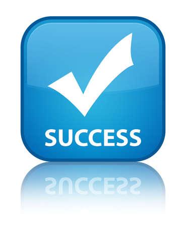 valider: Succ�s (valider ic�ne) de bouton carr� bleu cyan Banque d'images