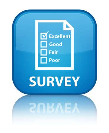 satisfy: Survey (questionnaire icon) cyan blue square button