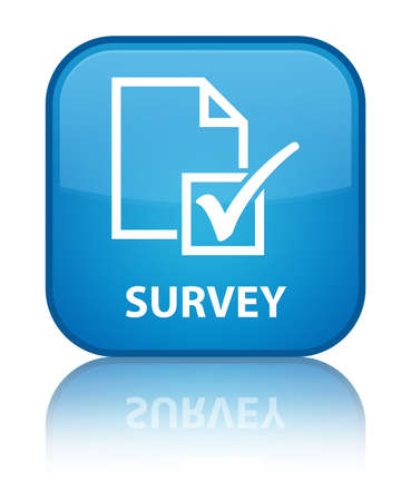 Survey cyan blue square button photo