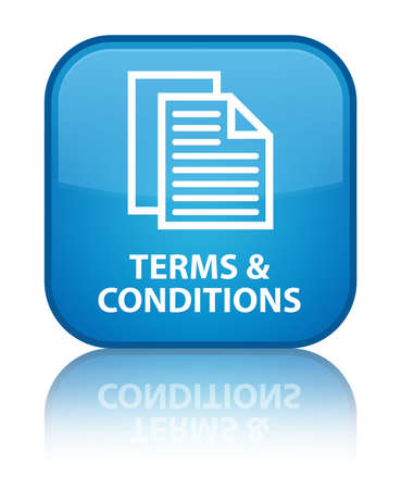 Terms and conditions (pages icon) cyan blue square button