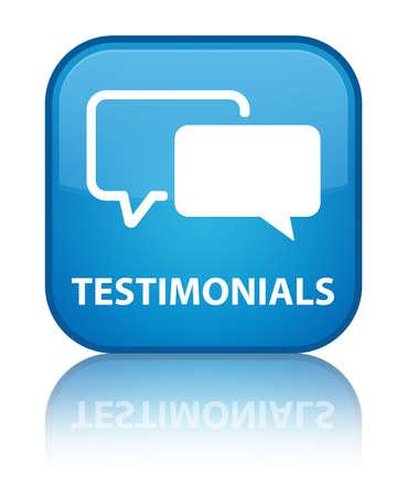 authenticate: Testimonials cyan blue square button Stock Photo