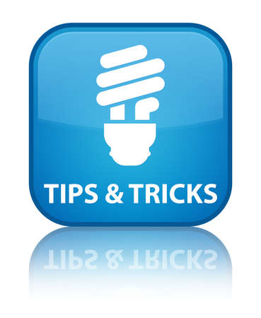 Tips and Tricks (bulb icon) cyan blue square button photo