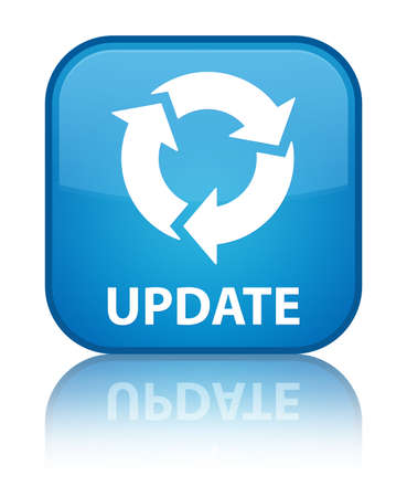 refresh icon: Update (refresh icon) cyan blue square button