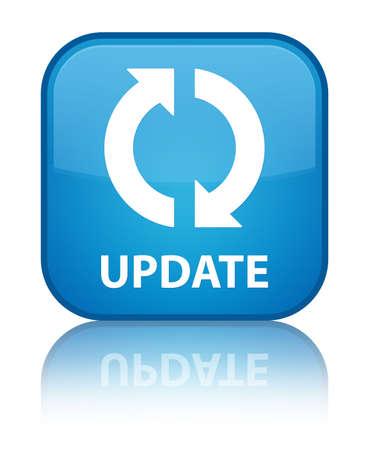 Update cyan blue square button photo
