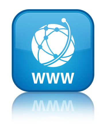 WWW (global network icon) cyan blue square button photo