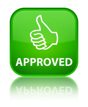 thumbs up icon: Approved (thumbs up icon) green square button Stock Photo