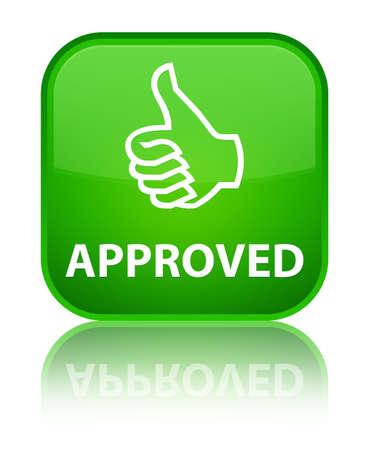 thumbs up icon: Aprobado (pulgar hacia arriba icono) bot�n verde cuadrado