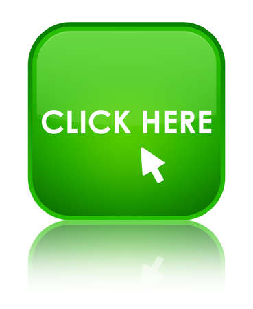 click here: Click here green square button Stock Photo