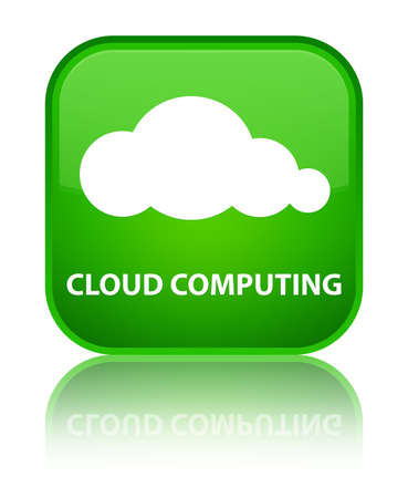 green computing: Cloud computing green square button Stock Photo